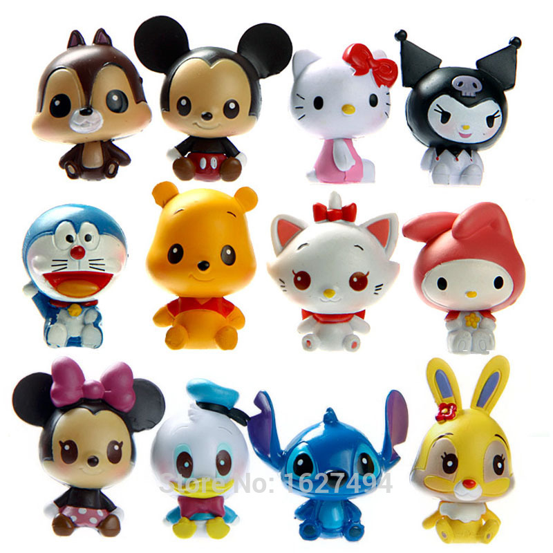 12pcs Cartoon Mickey Minnie Mouse Winnie PVC Action Figures Hello Kitty Doraemon Pop Anime Figurines Kids Toys For Boys Girls(China (Mainland))