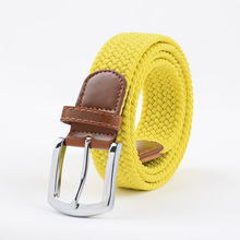 Extra Long Yellow Elastic Web Belt Mens Stretch Belt Metal Buckle Woven Braid Belts for Big Men