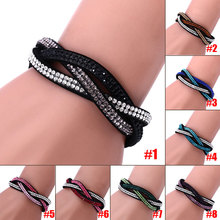 Fashion Charm Rhinestone Leather Wrap Crystal Multilayer Bracelets Bangles for Women Party Jewelry Bracelets KQS