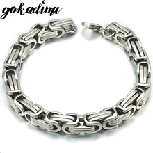Gokadima New Product, Silver Color Stainless Steel bracelets Link Byzantine Chain Bracelet For MENS Jewelry Fashion Good quality(China)