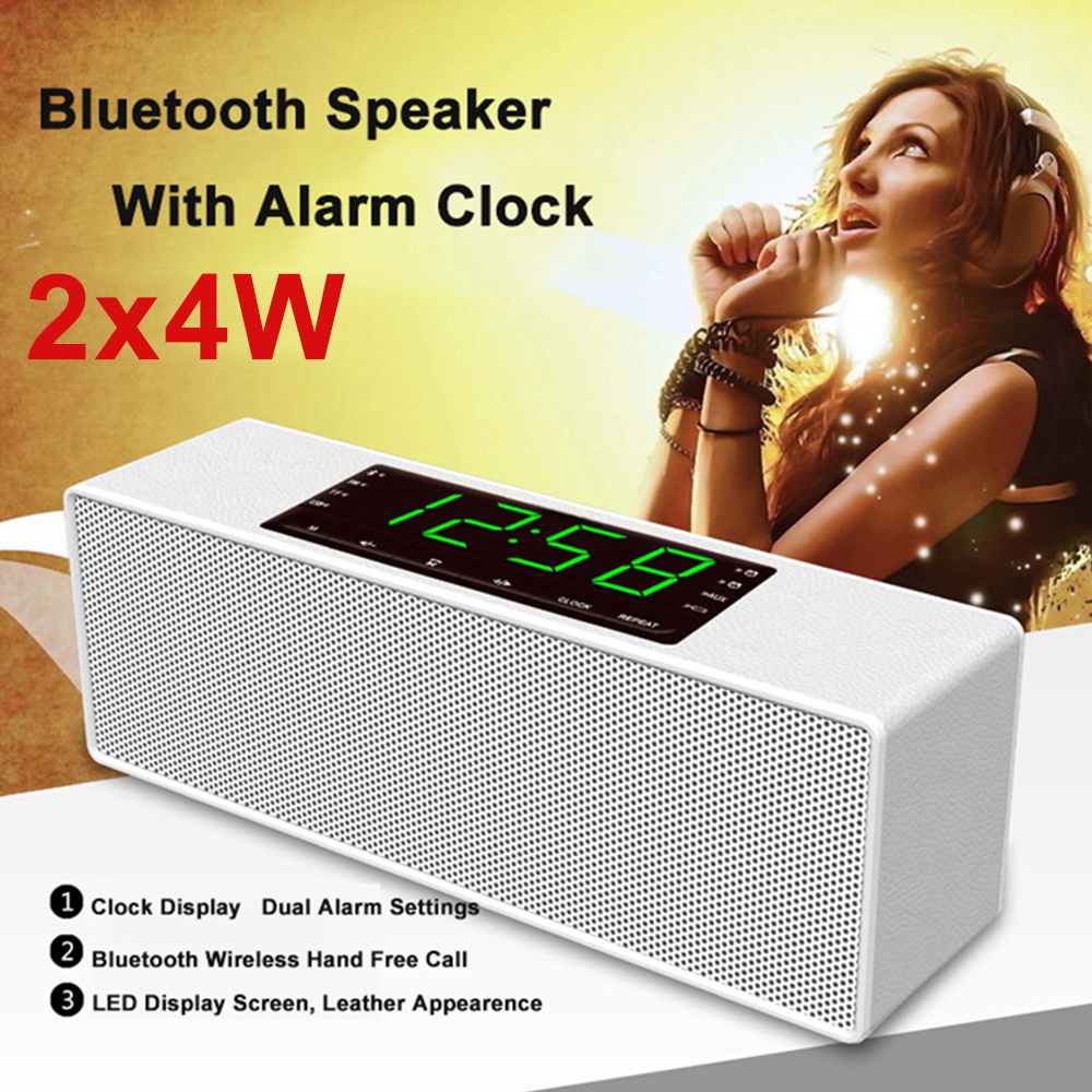 8W Wireless Portable Bluetooth Speaker Clock Alarm with LED Time Display for Android for iPhone With Alarm Clock FM Radio<br><br>Aliexpress