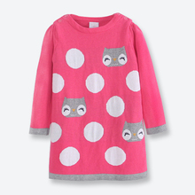 Fall Winter Girl Sweater Dress Long Sleeve Kids Pullover Knitted Casual Cartoon Cat Girl Sweater Dress Children Clothes 2-7 Yrs