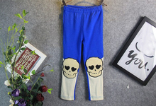 Big Sale Girl Pants Cool Skull Embroidered Girls Leggings Blue&White Contrast Kids Skinny Pants Spring Children Thin Trousers