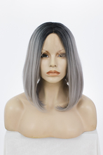 "Imstyle Straight Synthetic lace wigs front dark root grey end wig 14""(China)"