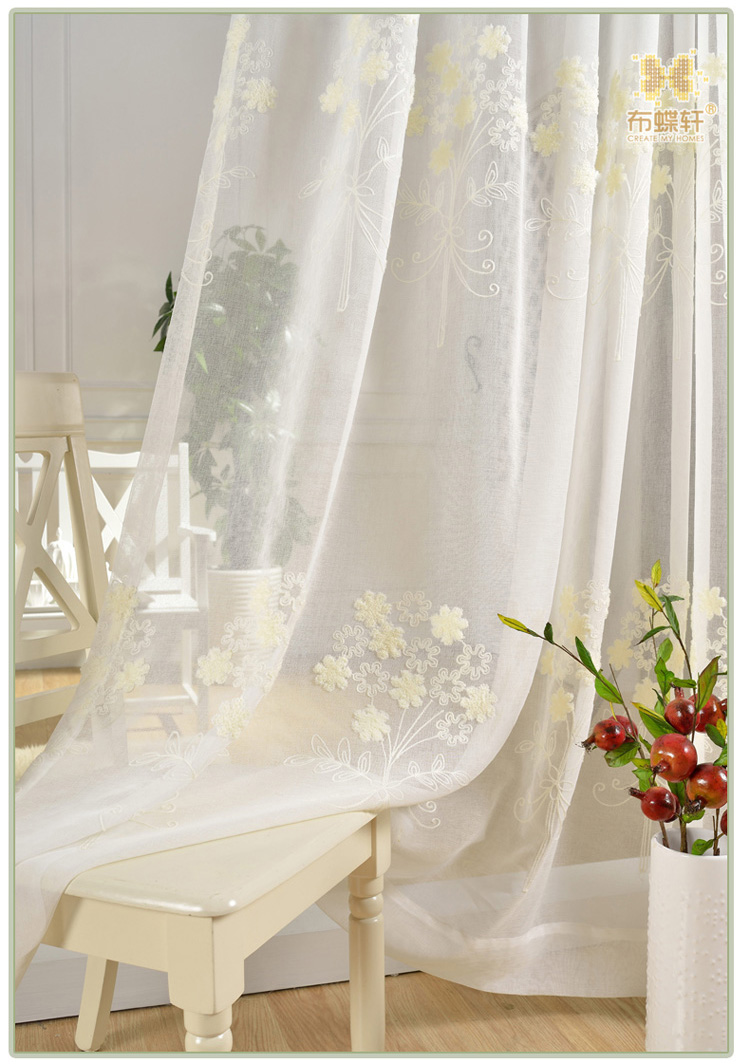 2019 Simple White Embroidered Gauze Cloth Linen Voile Curtains ...