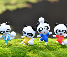 2Pcs Mini Cartoon Play Football Panda Resin Figurines DIY Decorative Craft Miniature Fairy Garden Gnome Decor Bonsai Supplies