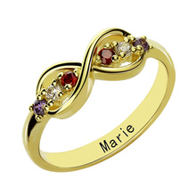 Wholesale Personalized Gold Color Infinity Birthstone Rings Mother's Ring Handmade Name Ring Family Rings  Mother Day's Gift