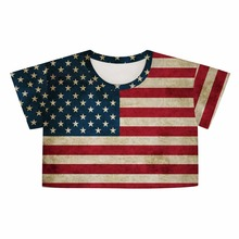 USA Flag Printed T-shirt Stylish summer Womens Fashion Retro digital print short section loose half short sleeveShirt Clothes