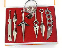 Seven Weapon Anime Naruto Cosplay Model Metal Sword Knife 7PCS/Set Silver