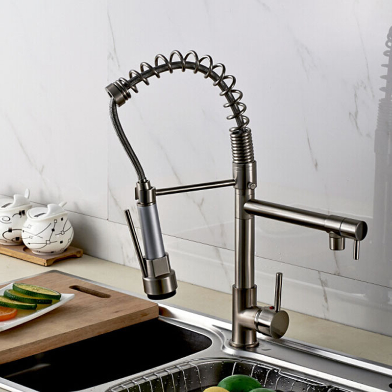 Promotion-Good-Quality-Kitchen-Faucet-Mixer-Taps-Brushed-Nickel-Dual-Sprayer-Spring-Kitchen-Sink-Faucet (2)