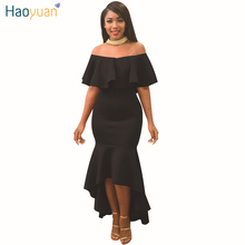 Buy HAOYUAN Ruffle Shoulder Maxi Dress Women 2017 Summer Slash Neck Backless Bodycon Mermaid Long Elegant Sexy Party Dresses for $14.99 in AliExpress store