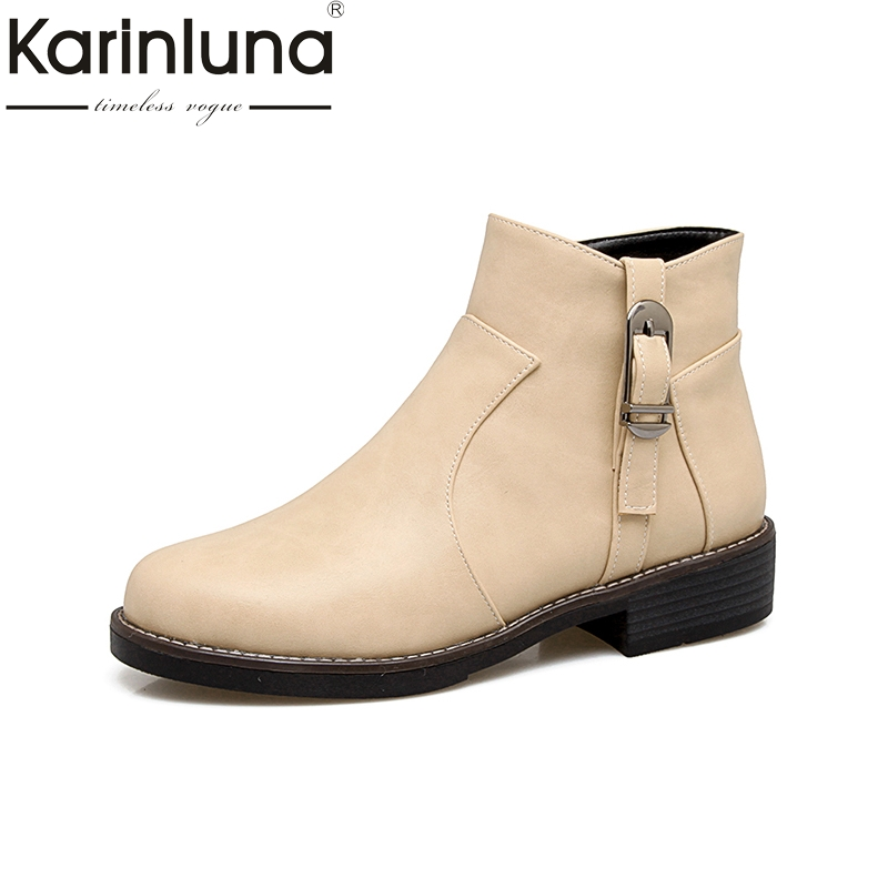 KARINLUNA 2017 Plus Size 34-43 Buckle Zip Up Square Heel Women Shoes Woman Boots Casual Black Winter Western Boots Add Fur<br>
