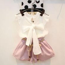 New 2017 Summer Baby Toddler Girls Clothing Sets Kids Girl Clothes Sleeveless Bowknot White Blouse+Pink Short Pant 2Pcs JW1692