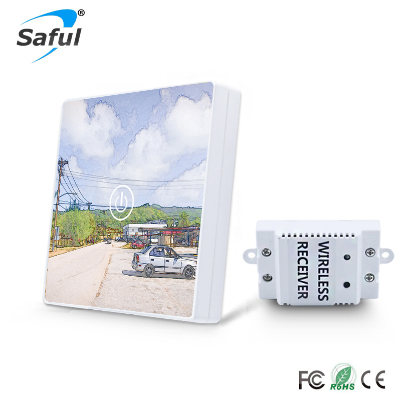 Saful 1 Gang 1 Way Crystal Glass Switch DIY Painting Touch Screen Wall Switch  Remote Wireless Touch Switch<br>