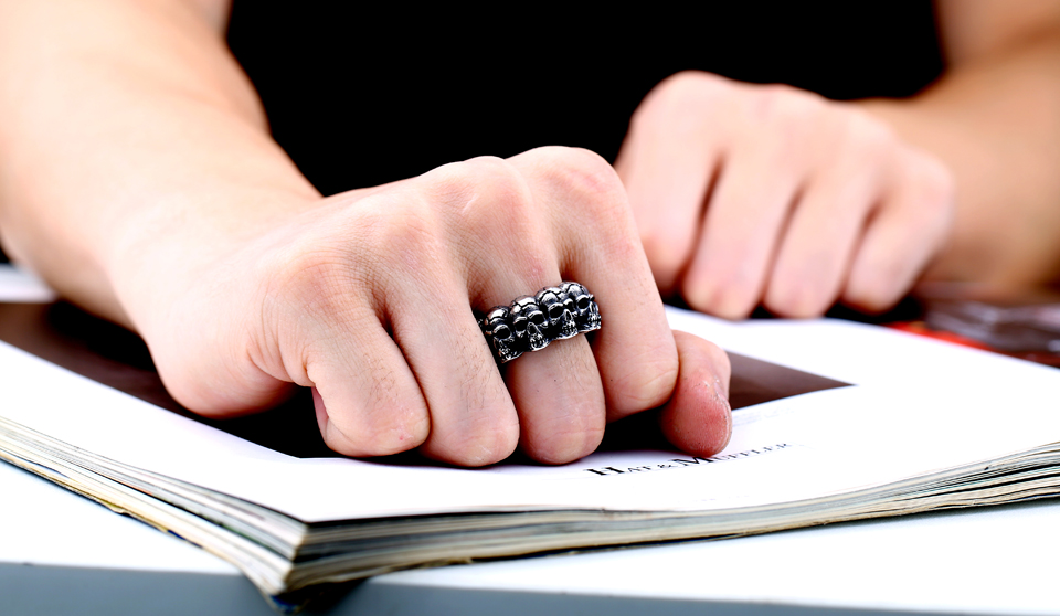 แหวนเท่ห์ๆ แหวนกะโหลกล้อม สแตนเลส ส่งฟรี5