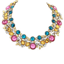 European and American vintage jewelry wholesale crystal stone necklace 6pcs/lot