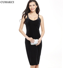 Women Sexy Low Cut Swan Fashion Summer Sleeveless Spaghetti Strap Evening Party Mid Velvet Bag Hip Dress Robe Velours Strap S309