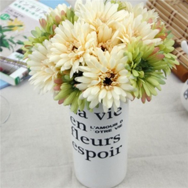 New 7pcs/Bunch Lots Artificial Flowers Silk Flowers Artificial Gerberas Flowers for Home Decoration Wedding Bouquets(China (Mainland))
