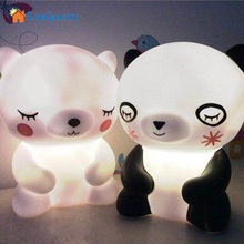 LumiParty HOT Pretty Cute Panda Cartoon animal night light,Kids Bed Desk Table Lamp Night Sleeping led night lamp Chrismas Gift(China)
