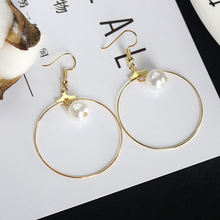 Gold Color Simulated Pearl Dangle Earrings Hollow Big Circle Drop Earring For Women Round Beads Eardrop Jewelry Accessories Clip