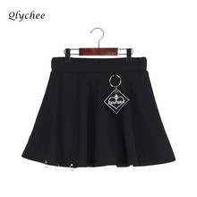 Buy Qlychee Autumn Black Vintage A-line Women Skirt Metal Ring Letter Embroidery Mini Skirt Empire Sweet Skirt Female for $18.69 in AliExpress store