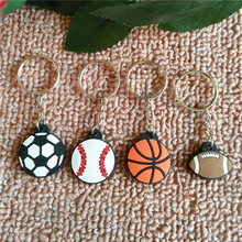 FREE SHIPPING BY DHL 100pcs/lot Rubber Mini Sports Keychains Baseball Basketball Football Keyrings for Gifts(China)