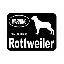 Car Sticker Laptop PC Vinyl Decal Window Glass Protected By Rottweiler Dog Truck Van Wall Door PC Decor Black