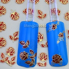 6 Sheets Red Rose Flowers 3D Nail Stickers Decals Acrylic Nail Art Decorations Tools Hot Stamping Gold Design TJ031