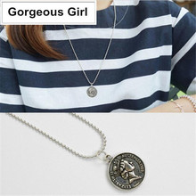 100% 925 Sterling Silver Necklace Retro Thai Silver Round Dollar Coin Long Necklace(China)