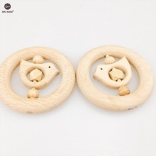 Let's Make Nature Baby Teether 1PC Beech  Wood Teething Children Montessori Toys Nursing Wood Necklace Baby Charms Pendants