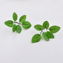 10pcs/lot green Artificial Leaf Handmake Flower For Wedding Decoration DIY Scrapbooking Decorative Wreath Fake Flowers(China)