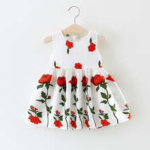 On April 2017 the new summer new kids and the wind rose princess  gauze dress girl baby sleeveless vest dress