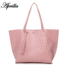 Aprilla new fashion Women shoulder bag Ostrich pattern Casual Tote bag Tassel Handbags PU leather Ostrich pattern bag HQ10