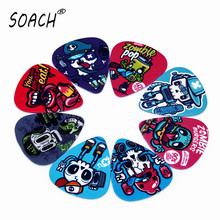 SOACH 10PCS 1.0mm high quality guitar picks two side pick Graffiti skeleton picks earrings DIY Mix picks guitar