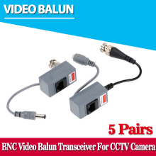 5 Pairs CCTV Camera Accessories Audio Video Balun Transceiver BNC UTP RJ45 Video Balun with Audio and Power over CAT5/5E/6 Cable