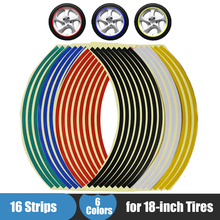 "Motorcycle Motocross Wheel Sticker 18"" Reflective Rim Tape 16PCS Stripe Decals for Yamaha Honda Suzuki Kawasaki KTM"