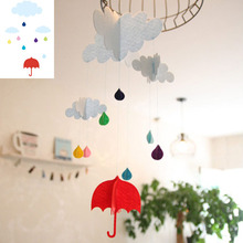 Cloud Rain Unbrella Felt Decoration Ornaments Baby Room Deco Flag DIY Home Birthday Kindergarten Classroom Cute Handmade De