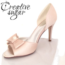 Creativesugarsatin D'orsay bow pearl open toe woman shoes bridal wedding party evening dress pumps lady heels white pink blue