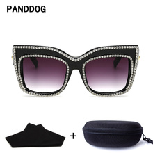 PANDA DOG Diamond Double Round Decorate Fashion Vintage Sunglasses Women Brand Designer With Glasses Case And Cloth YWFDY97194(China)