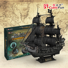Cubicfun 3D paper model DIY toy birthday gift puzzle the Queen Anne's revenge Black Pearl Pirates of Caribbean boat ship 1:95