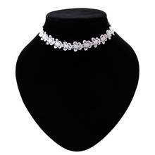 2016 New Hot Trend Fashionable Handmade Crochet Thread Lace White Small Flowers Choker Necklace For Women Girls