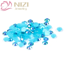 1000pcs 2-5mm And Mixed Sizes Aquamarine AB Resin Rhinestones Non Hotfix Glitter Strass Crystal Nail Art Supplies Decorations