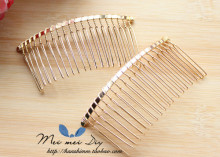 10pcs/lot DIY hair accessories hair supplies steel plate inserted comb hair comb black iron silver 7.5 * 3.6cm 20 teeth