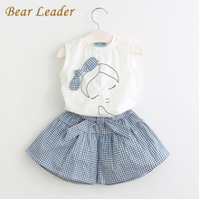 Bear Leader Girls Clothing Sets 2017 Brand Summer Style Kids Clothing Sets Sleeveless White T-shirt+Plaid Culottes 2Pc Girl Suit(China)