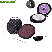 RACAHOO CD Case Fine Red Wine System Of Ultra-fiber Skin Capacity Of 20 High Quality Round DVD Clip CD Package For Car And Home