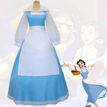 Anime Beauty and the Beast Princess Belle Blue Maid Uniform Cosplay Costume Full Set Apron Dress