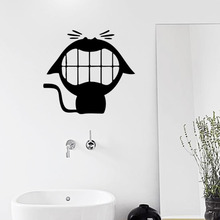 347* Laughing cute cat vinyl wall stickers for bathroom small stuffs cartoon wallpaper home decor adesivo de parede home decor(China)