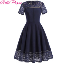 Belle Poque 2017 Summer Party Sexy Lace Dress Women Big Size Short Sleeve Tea Vestidos Swing Pin up Robe Femme Vintage Jurk(China)