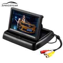 Car 4.3 inch foldable display HD LCD TV reverse rear view reversing image camera monitor parking assist system GPS black display(China)