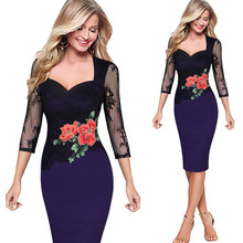 Buy Echoine Lace Embroidery Party Women Dress Sexy Slim Stitching Big Size S-5XL Fashion Midi Autumn Winter Knee-length Pencil Dress for $19.13 in AliExpress store